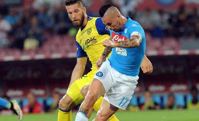 Fine del primo tempo al Bentegodi, Chievo Napoli 0-2